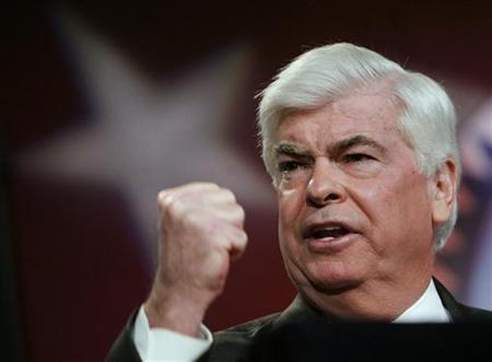 Senator Christopher Dodd (D-CT) addresses the AFL-CIO Building and Construction Trades Presidential Candidates Forum in Washingtonn,in this March 28, 2007 file photo. REUTERS/Jim Young