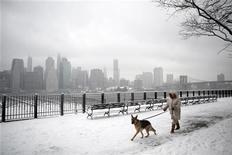 <p>Женщина гуляет со своей собакой по заснеженному Нью-Йорку 10 февраля 2010 года. Вы когда-нибудь замечали, что после долгой командировки ваша вторая половинка больше радуется встрече со своей собакой, чем с вами? REUTERS/Natalie Behring</p>