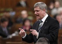 <p>Prime Minister Stephen Harper replies to a question after delivering his response to the Speech from the Throne in the House of Commons on Parliament Hill in Ottawa in this March 11, 2010 file photo. REUTERS/Chris Wattie</p>