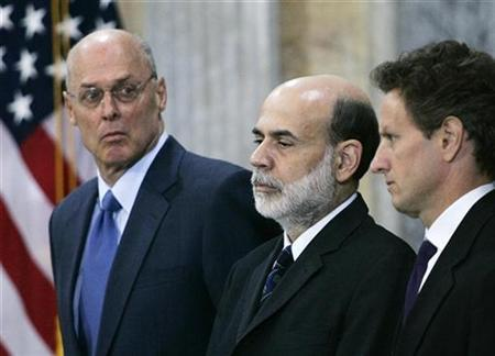 Then Treasury Secretary Henry Paulson, Federal Reserve Chairman Ben Bernanke and then President of the Federal Reserve Bank of New York Timothy Geithner in the Treasury Department Cash Room, October 14, 2008. REUTERS/Hyungwon Kang