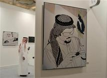 "<p>An artwork (R) entitled ""Connected"" by contemporary artist Jowhara AlSaud of Saudi Arabia is displayed before the unveiling for Art Dubai in Madinat Jumeirah March 16, 2010. REUTERS/Jumana ElHeloueh</p>"
