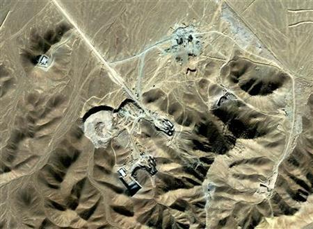 A suspected uranium-enrichment facility near Qom, 156 km (97 miles) southwest of Tehran, is seen in this September 27, 2009 satellite photograph released by DigitalGlobe on September 28, 2009. REUTERS/DigitalGlobe/Handout