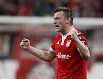 <p>Ivica Olic, do Bayern de Munique, comemora gol que deu vitória ao time em jogo contra o Manchester United pela Liga dos Campeões. REUTERS/Michael Dalder</p>
