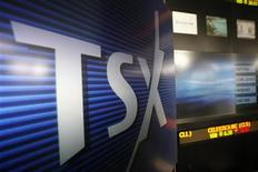 <p>A Toronto Stock Exchange (TSX) logo is seen in Toronto in this November 9, 2007 file photo. REUTERS/Mark Blinch</p>