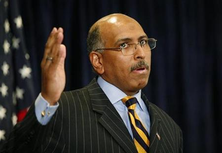Michael Steele speaks during a news conference after being elected Republican National Committee chairman in Washington January 30, 2009. REUTERS/Molly Riley