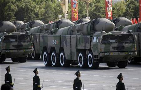 Surface-to-surface missiles are displayed in a parade to celebrate the 60th anniversary of the founding of the People's Republic of China, in Beijing October 1, 2009. REUTERS/Jason Lee