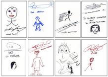 <p>Felt pen sketches by soccer players of England's Premier League are seen ahead of their auction April 12, in photos released April 9, 2010. The drawings, by footballers such as Wayne Rooney (top L) and Ryan Giggs (bottom R), are among those by 40 players and managers to be included in a Premier League leather-bound book called The Art of Football. REUTERS/Premier League/Handout</p>