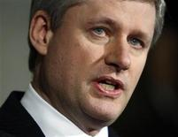 <p>Canada's Prime Minister Stephen Harper announces the resignation of the Minister of State for the Status of Women Helena Guergis on Parliament Hill in Ottawa April 9, 2010. REUTERS/Blair Gable</p>
