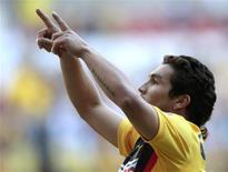 <p>Atacante paraguaio Salvador Cabañas, durante jogo do América do México, antes de ser baleado na cabeça na capital mexicano, no fim de janeiro. 17/01/2010 REUTERS/Henry Romero</p>