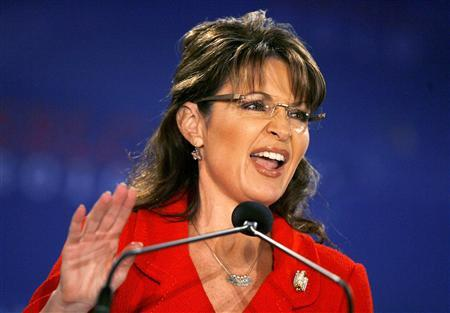 Former Alaska Governor and 2008 Republican Vice Presidential candidate Sarah Palin speaks at the 2010 Southern Republican Leadership Conference in New Orleans, Louisiana April 9, 2010. REUTERS/Sean Gardner