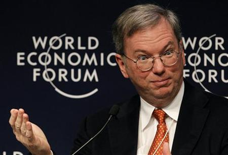 Eric Schmidt, CEO of Google attends a session at the World Economic Forum (WEF) in Davos January 29, 2010. REUTERS/Arnd Wiegmann
