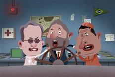 """<p>Imagen animada representando al presidente de Venezuela, Hugo Chávez, junto a sus pares Alvaro Uribe de Colombia, y Luiz Inácio Lula da Silva de Brasil, en la serie """"Isla del Presidente"""". Abr 13 2010. Un sitio web venezolano que por dos años se ha dedicado a burlarse del presidente Hugo Chávez se ha convertido en un rutilante éxito en la red, donde sus autores lanzaron su blog satírico para sortear la censura. REUTERS/El Chiguire Bipolar/entregada</p>"""