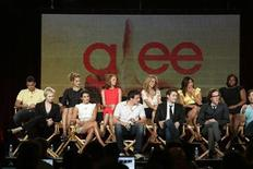 "<p>Cast members of the new series ""Glee"" discuss the show at the Fox Summer Television Critics Association press tour in Pasadena, California August 6, 2009. REUTERS/Fred Prouser</p>"