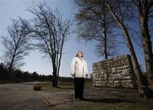 <p>Susan Schwartz, one of the first children born in the Bergen-Belsen Displaced Persons Camp to two holocaust survivors, poses for a portrait as she visits the Bergen-Belsen Memorial at the site of the former concentration camp on the 65th anniversary of its liberation in Germany, April 15, 2010. REUTERS/Danny Moloshok</p>