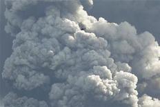 <p>Вертолет летит на фоне столба пепла, извергаемого из жерла вулкана Эйяфьяллайекюль в Исландии 17 апреля 2010 года. Прекращение полетов над Европой из-за извержения вулкана в Исландии затронул не только туристов, которые не могут отправиться в отпуск или вернуться из него, но и создал затруднения для значительного числа профессионалов, не связанных напрямую с авиаиндустрией. REUTERS/Lucas Jackson</p>