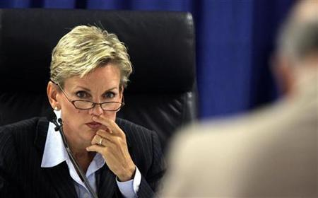 Michigan Governor Jennifer Granholm during a hearing to determine if Detroit Mayor Kwame Kilpatrick should be removed from office, in Detroit, September 3, 2008. REUTERS/Pool