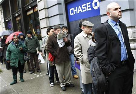 People wait in line to enter the NYCHires Job Fair in New York, February 24, 2010. REUTERS/Shannon Stapleton