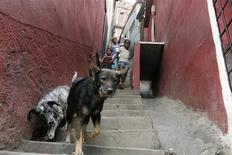<p>A family walks down stairs in the slum of Petare in Caracas April 8, 2010. REUTERS/Edwin Montilva</p>