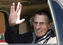 "<p>Actor Leonard Nimoy gives the ""Vulcan salute"" to the crowd while riding in a parade in the town of Vulcan, Alberta April 23, 2010. Nimoy portrayed the character ""Spock"" in the original ""Star Trek"" television and movie series. REUTERS/Todd Korol</p>"
