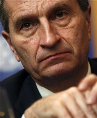 European Energy Commissioner Guenther Oettinger attends a news conference during the Black Sea Energy and Economic Forum in Sofia March 2, 2010. REUTERS/Stoyan Nenov