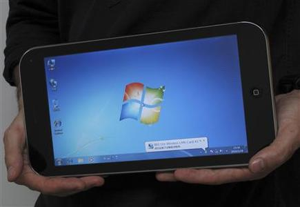 A sample of a ''shanzhai'' or imitated reproduction of iPad running Microsoft Windows is seen inside a computer shopping mall in the southern Chinese city of Shenzhen April 21, 2010. REUTERS/Bobby Yip