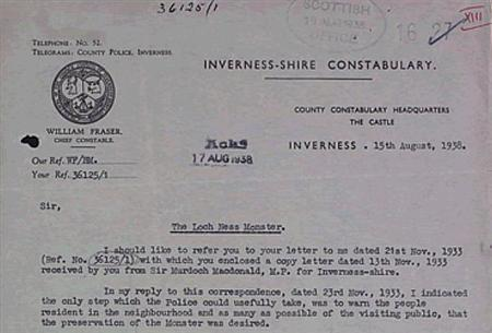 A letter released by the National Archives of Scotland written by Inverness County Police Chief Constable William Fraser in August 1938. REUTERS/Handout