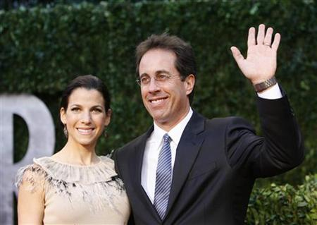 Comedian Jerry Seinfeld (R) and wife Jessica Seinfeld arrive at the 2010 Vanity Fair Oscar party in West Hollywood, California March 7, 2010. REUTERS/Danny Moloshok