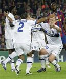 <p>Inter comemora após se classificar à final da Liga dos Campeões em jogo vencido pelo Barcelona por 1 x 0. REUTERS/Gustau Nacarino</p>