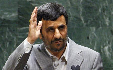 Iranian President Mahmoud Ahmadinejad waves to applauding conference members addressing the Nuclear Non-Proliferation Treaty Review Conference, at United Nations Headquarters, in New York, May 3, 2010. REUTERS/Chip East
