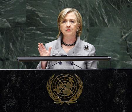 Secretary of State Hillary Clinton addresses the Nuclear Non-Proliferation Treaty Review Conference, at United Nations Headquarters, in New York, May 3, 2010. The objective of the treaty, which took effect in 1970, is to halt the spread of nuclear weapons-making capability, guarantee the right of all members to develop nuclear energy for peaceful ends and -- for the original five nuclear weapons powers -- to phase out their arsenals. REUTERS/Chip East (UNITED STATES - Tags: POLITICS)