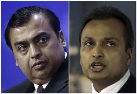 Mukesh Ambani (L), chief of India's Reliance Industries, and Anil Ambani, chairman of Reliance Communications, are pictured in this combination image of file photos. REUTERS/Staff Photographer