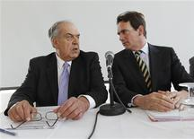 <p>Quebecor Inc. President and CEO Pierre Karl Peladeau (R) talks with Chairman Jean Neveu at the company's annual shareholders meeting in Montreal, May 12, 2010. REUTERS/Shaun Best</p>
