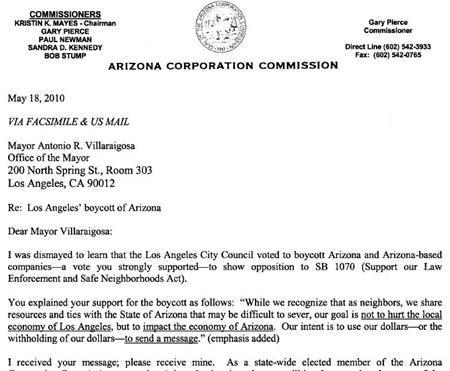 A portion of a letter to Los Angeles Mayor Antonio Villaraigosa from Arizona Corporation Commissioner Gary Pierce, dated May 18, 2010. REUTERS/Arizona Corporation Commission