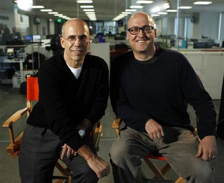 Jeffrey Katzenberg (L), CEO of Dreamworks Animation, and Mike Mitchell, director of ''Shrek Forever After'', pose for Reuters in Los Angeles, May 10, 2010. REUTERS/Mario Anzuoni