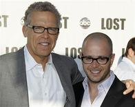 "<p>Executive producer Carlton Cuse (L) and co-creator and executive producer Damon Lindelof (R) of the TV show ""Lost"" pose together as they arrive at ABC's ""Lost"" Live: The Final Celebration at UCLA Royce Hall in Los Angeles, May 13, 2010. REUTERS/Danny Moloshok</p>"