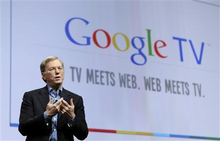 Google Inc CEO Eric Schmidt introduces Google TV, blending web technology and television, in collaboration with various partners, at the company's annual developer conference in San Francisco, California May 20, 2010. REUTERS/Robert Galbraith