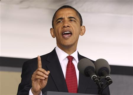 President Barack Obama addresses the graduating class of 2010 at the U.S. Military Academy at West Point during the 2010 commencement ceremony at Mitchie Stadium at West Point, New York, May 22, 2010. REUTERS/Larry Downing