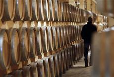 <p>Barrels of wine in a cellar near Bordeaux, southwestern France, October 28, 2008. REUTERS/Regis Duvignau</p>