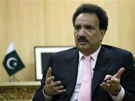 Pakistan's Interior Minister Rehman Malik speaks during an interview with Reuters at his office in Islamabad May 25, 2010. REUTERS/Faisal Mahmood