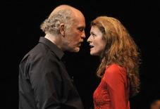 <p>U.S. actor John Malkovich and soprano Louise Fribo perform on stage during the theatre play 'The Infernal Comedy - Confessions of a serial killer' in Hamburg May 16, 2010. REUTERS/Morris Mac Matzen</p>