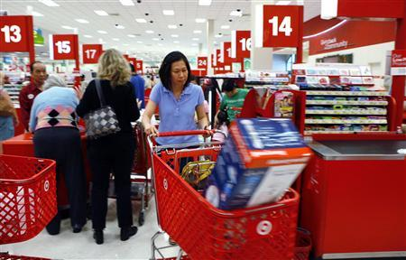 Shoppers checkout at a Target store in Falls Church, Virginia, May 28, 2010. REUTERS/Kevin Lamarque