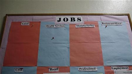 An empty jobs board is seen at the Mohawk Valley Resource Center for Refugees in the economically depressed upstate New York city of Utica April 27, 2010. REUTERS/Mike Segar