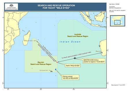 A map of the search area for 16-year-old Abby Sunderland released June 11, 2010. A 16-year-old Californian girl attempting to sail solo around the world is safe and well, her parents said, after a massive search and rescue was launched in the Indian Ocean after she triggered distress signals. Teenage adventurer Abby Sunderland was last heard from about 6 a.m. Pacific time (1300 GMT) on Thursday, when she broke off a satellite phone call as her yacht Wild Eyes was pounded by huge waves in the remote southern Indian Ocean. REUTERS/Australian Maritime Safety Authority/Handout