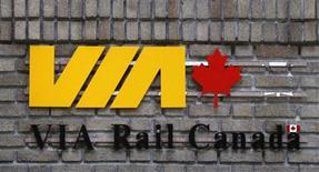 <p>A VIA Rail logo is pictured at the Gare du Palais train station in Quebec City June 9, 2010. REUTERS/Mathieu Belanger</p>