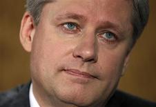 <p>Canada's Prime Minister Stephen Harper listens to a question during an interview with Reuters in the Langevin Block in Ottawa June 21, 2010. REUTERS/Chris Wattie</p>