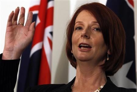 Australia's new Prime Minister Julia Gillard attends a news conference after a leadership ballot at Federal Parliament House in Canberra June 24, 2010. REUTERS/Mick Tsikas