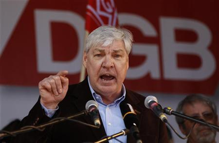 Michael Sommer, head of Germany's union association DGB, delivers his speech during a Labour Day rally in Essen May 1, 2010. REUTERS/Ina Fassbender