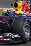 <p>Piloto da Red Bull Mark Webber durante segunda sessão de treino no circuito Silverstone antes do Grande Prêmio da Inglaterra. Webber fez o melhor tempo nos treinos livres nesta sexta-feira. 09/07/2010 REUTERS/Andrew Winning</p>
