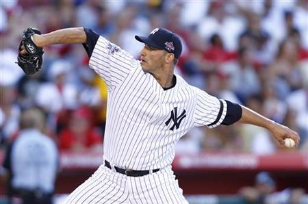 American League All-Star pitcher Andy Pettitte of the New York Yankees in Anaheim, California July 13, 2010. REUTERS/Mike Blake