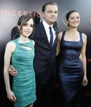 """<p>Leonardo DiCaprio, Marion Cotillard (dir) e Ellen Page na estreia de """"A Origem"""" em Hollywood. 13/07/2010 REUTERS/Mario Anzuoni</p>"""